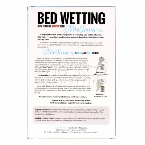 Nite Train'r Bedwetting Alarm - Box Back, Male - One Stop Bedwetting