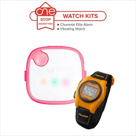 The Chummie Elite Bedwetting Alarm and Vibralite Mini reminder vibrating watch make the perfect watch kit for all. Available only at One Stop Bedwetting.